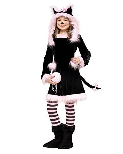 Süßes 4-tlg. schwarz-rosa Kätzchen Kinder-Kostüm für Mädchen (Katze Baby Kostüm Mädchen)