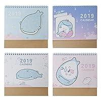 Exing Desktop Calendar 2019, Slim Desk Easel Format Calendar, Cartoon Dolphin Patterns Daily Schedule Table Planner