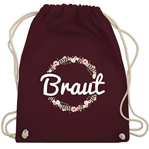 Kostüm Bin Tasche - JGA Junggesellinnenabschied - Braut Blumenkranz - Unisize - Bordeauxrot - WM110 - Turnbeutel & Gym Bag