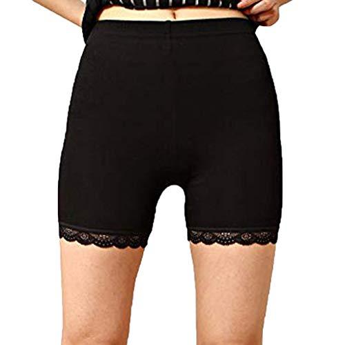 Miederpants für Damen, 12shage Damen Unterwäsche Unter Rock Kurz Hose Mit Spitze Damen Anti-Chafing Anti-Rutsch Lace Leggings (Schwarz, 2XL) -
