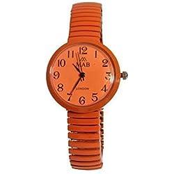 Ladies Orange Coloured Expandable MAB Designer Fashion Metal Watch Round Bracelet Extra Battery