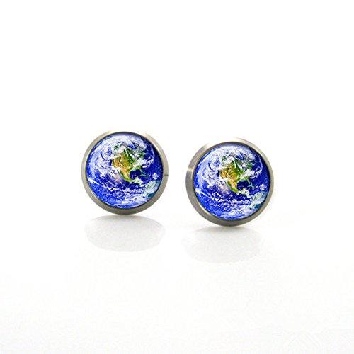 Planète Terre–Boucles d'Oreille Système solaire Planète Globe Post Boucles d'oreilles
