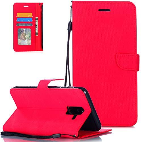 FNBK Handytasche Kompatibel mit Samsung Galaxy A6 Plus 2018 Lederhülle für Handy Flip Leder Tasche Handyhülle Stoff Stoßfest Klapphülle Schale Bumper Magnet Brieftasche Ständer Kartenfächer Shell,Rot