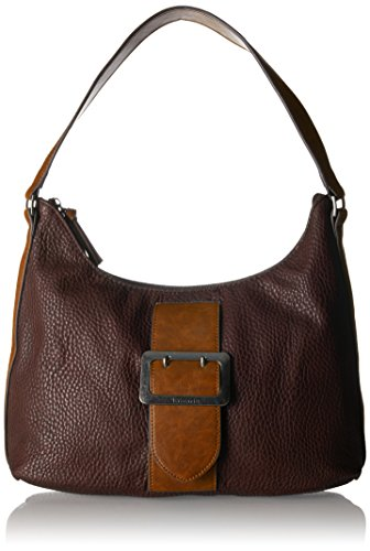 Tamaris Damen Lee Hobo Bag Schultertasche, Braun (Dark Brown Comb), 12x28x32 cm -