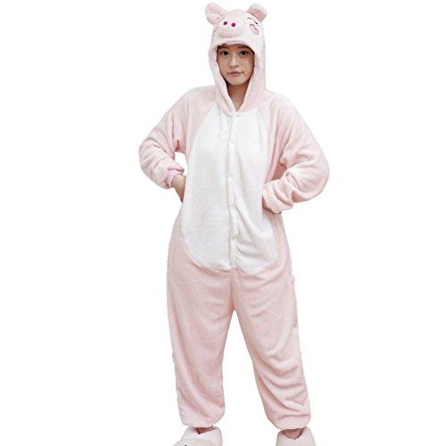 Triseaman Unisex Erwachsene Halloween Kigurumi Pyjamas Tier Onesie Pink Pig (Baby Kostüme Halloween Pig)
