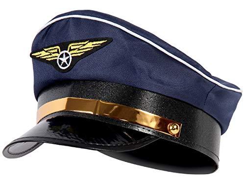 Marine blau Fliegermütze Pilot Flugkapitän Mütze mit Fliegeremblem 182 ()