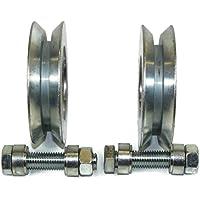 (V89-12) - Lote de 2 ruedas para puerta corredera (polea,