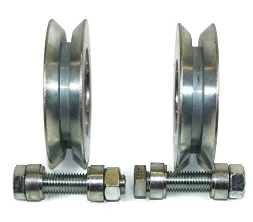 (V89-12) Lot de 2roues pour portail coulissant, roues de poulie en acier avec rainure en V, fabriquées en Union Européenne (89mm de diamètre, tige de12mm)