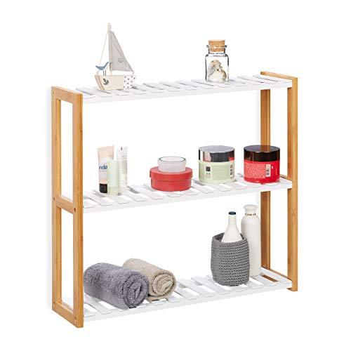 Relaxdays Wandregal mit 3 Ablagen, Badregal, Küchenregal Wand, Badablage für Kosmetik, Bambus, MDF, HBT 54x60x15cm, weiß (Küche Kosmetik)