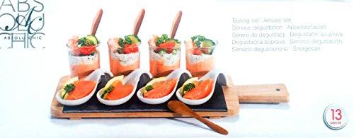 13 teiliges Servier Set Servieren Amuse Set Vorspeisenplatte 4 Holz Dessert-Löffel, 4 Gläser, 4 Porzellan Schälchen, 1 Serviertablet Appetizers Schale mit Glas Weiß Keramik