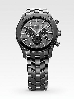 Burberry BU1854patrimonio colección Cronógrafo de acero inoxidable reloj de los hombres (negro)