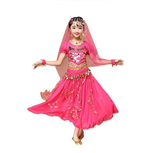 Hunpta Kinder Mädchen Bauchtanz Outfit Kostüm Indien Dance Kleidung Top + Rock (136~150cm, Hot Pink) (Kleidung Aus Indien)