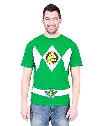 Ranger Flip Erwachsene Grün T-Shirt (Medium) (Power Rangers T-shirt Für Erwachsene)