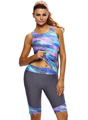 Aleumdr Damen Tankini Set Bunt Print zweiteilig Badeanzug Schwimmanzug mit verlängerten Beinen Grün und Grau X-Large