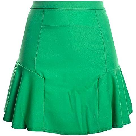 Donna Stitching Coda Di Pesce Gonna In Chiffon Minigonna Gonne A Vita Alta Frutta Verde L