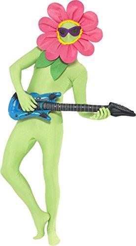 Tanzende Blume-Kit Grün Kopfteil mit Brille und aufblasbarer Gitarre, One Size