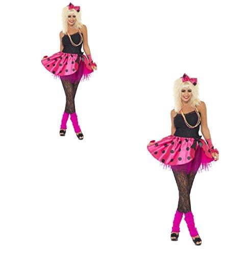 s Damen Rosa Tutu Instant Kit, Neon Pink, mit Tutu, Haarband und Finger Weniger Handschuhe 80's Madonna Hen Do/Festival/Karneval/Party Fun (Neon Fancy Dress Outfits)