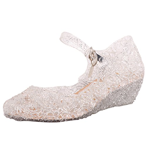 Tyidalin Niña Bailarina Zapatos de Tacón Disfraz de Princesa Zapatilla de Ballet Para 3 a 12 Años EU28-33(Color Púrpura,Gold,Plata) (EU 25(Talla del Fabricante 27), Plateado)