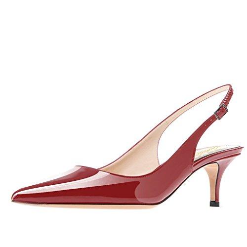Lutalica Frauen Kitten Heel Spitze Patent Slingback Kleid Pumps Schuhe für Party Patent Burgund Größe 39 EU