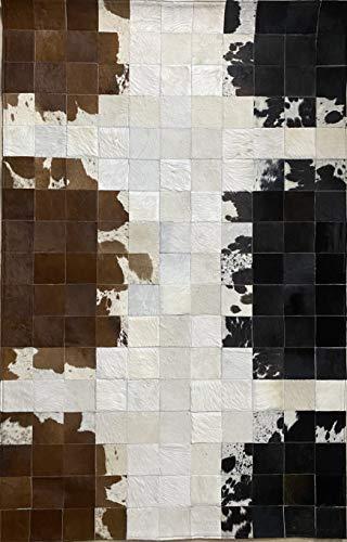 Alfombra de piel auténtica, de retazos, rectangular, de 6 x 4 pies