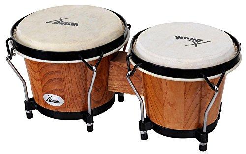 XDrum Bongo Club Standard 15,2 cm (6 Zoll) Macho/17,7 cm (7 Zoll) Hembra Holz Tobacco Percussion Holzbongo Naturfelle Trommel
