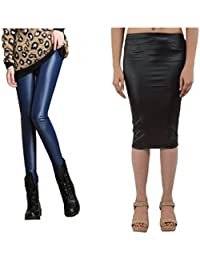 Timbre PU Faux Leather Coated Leggings and Skirt Combo
