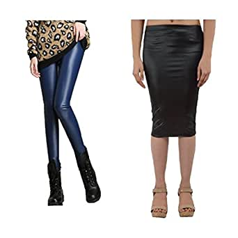 Buy Timbre Pu Faux Leather Coated Leggings And Skirt Combo At Amazon In