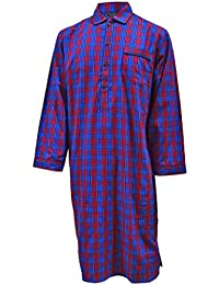 Men's Luxury Cotton Nightshirt - Blue & Red Check