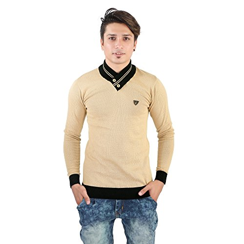 LATEST COLLECTION 2018 100% COTTON PLAIN CHIKU(GOLD) FULL SLEEVE T-SHIRT CASUAL PARTY...