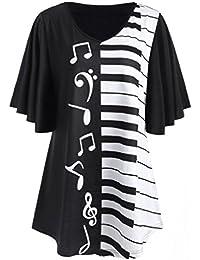 ... ❤ Amlaiworld Blusa Mujer elegante de Talla grande Verano Notas Musicales de Impresión Tops Casual Camiseta Suelta de Manga…