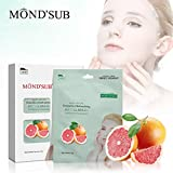 Máscaras la cara recomendada [6 Hoja/Pack] real natural hidratante y de hidratación | Refrescante e Iluminadora mascarilla | hidratantes para la piel máscaras faciales Cuidado diario Grasa | Friuts