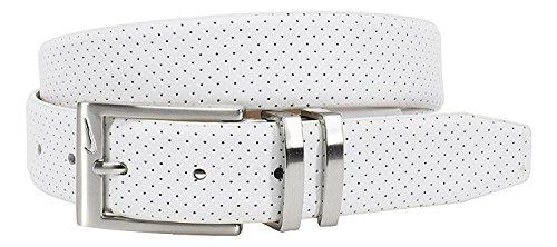 Nike Herren Gürtel Pin Dot geprägtes Premium - Weiß, 42 (Bekleidung Geprägte)