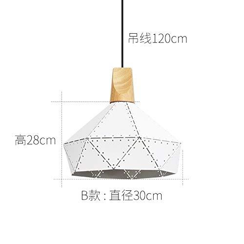 Lámpara de mesa de personalidad creativa dormitorio lámpara B blanco diámetro 30 cm con bombilla bicolor led de 7 vatios