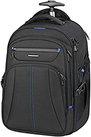 KROSER Roller Case Premium Wheeled Rolling Backpack Fits Up to 17 Inch Laptop Check Point Friendly Water-Repel