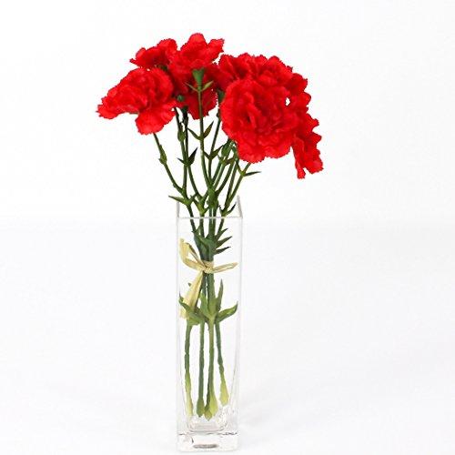 artplants – Kunstblume Nelkenbund Basic, 5 Nelken, rot, 30 cm – Künstliches Blumen Bouquet/Seidenblumen Strauß
