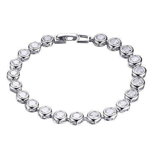 Contever® Brillante Bianco Placcato Oro Bracciale Braccialetto Wristband con Zirconi Lunghezza 18 Centimetri Donne