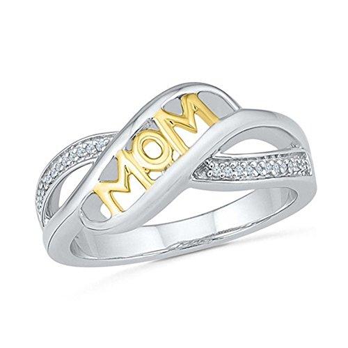 Damen Ring Mom Silber oder Rosegold Edelstahl für Muttertag (Gold, 10) (Mom Größe 10 Ringe)