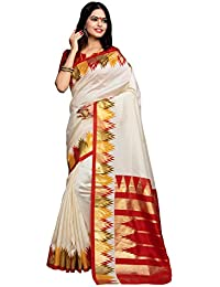 Applecreation Women's Silk Cotton Saree With Blouse Piece (Bhagalpuri Sarees 7Pj5009_Off-White_Free Size)