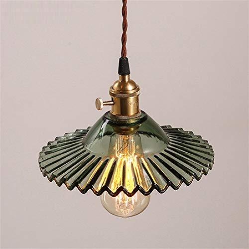 NUYAN Messing Deckenleuchte Antik Glas Lampenschirm Pendelleuchte Kronleuchter Vintage Indoor Kunst Dekoration Leuchte für Wohnzimmer Schlafzimmer Küche Esszimmer Flur -