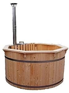 Vasca tinozza a botte in legno completa di stufa a legna casa e cucina - Tinozza da bagno ...