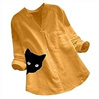Reooly Mangas de algodón y Lino, Camisa con Cuello de Pico y Estampado de Gato Mujer