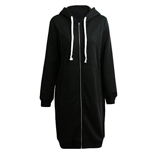 Romacci donna felpa con cappuccio lunga e tasche pullover maniche lunghe zip felpa giacca cappotto