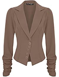 low priced b8f9b 92b1f Fashion Star Womens Ruched Sleeve Blazer Suit Coat Business Smart Jacket