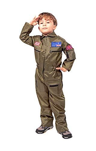 Horror-Shop Kampf-Pilot Jungen Kostüm S (Pilot Kostüme Für Jungen)