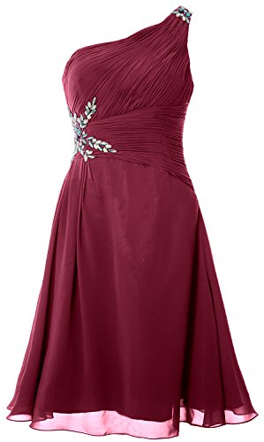 MACloth Women One Shoulder Cocktail Dress Short Wedding Party Formal Gown Weinrot