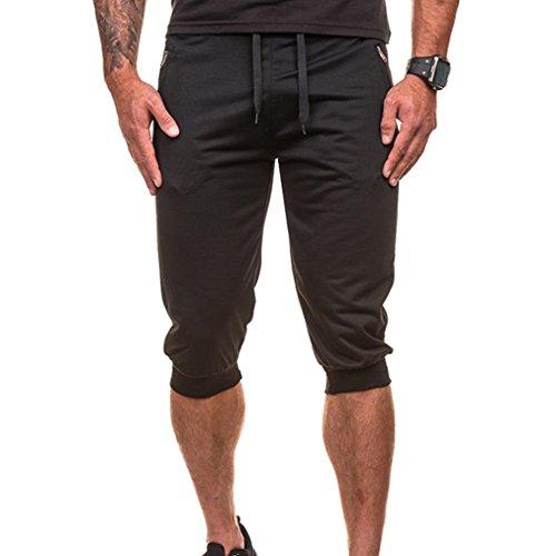 LHWY Herren Hosen, Männer Kurze Jogging Shorts Fashion Casual Jogger Dance Sportwear Baggy Harem Hosen Slacks Hosen Jogginghose (L, Schwarz) (Hose Dance 2)