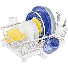 mDesign Escurridor de platos con bandeja de goteo – Bandeja escurreplatos para la encimera o el