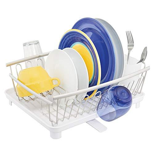 mDesign étendoir à Vaisselle avec bac d'égouttement - égouttoir à Vaisselle pour l'évier - sèche-Vaisselle avec bac récepteur en métal et Plastique - argenté Mat/Blanc