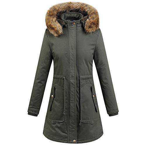MIRRAY Damen Mantel Winter Warme Dicke Oberbekleidung Künstliches Fell Hoodie Baumwolle Gefütterte Jacke