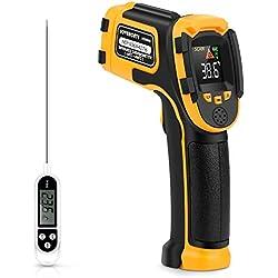 Thermomètre Infrarouge Pistolet de Température Laser Numérique Sans Contact -58°F~1112°F (-50°C~600°C) Emissivité Réglable - Sonde de température pour Cuisson/BBQ/Congélateur - Thermomètre Viande
